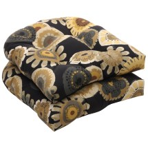 Outdoor Black And Yellow Floral Wicker Seat Cushions Set
