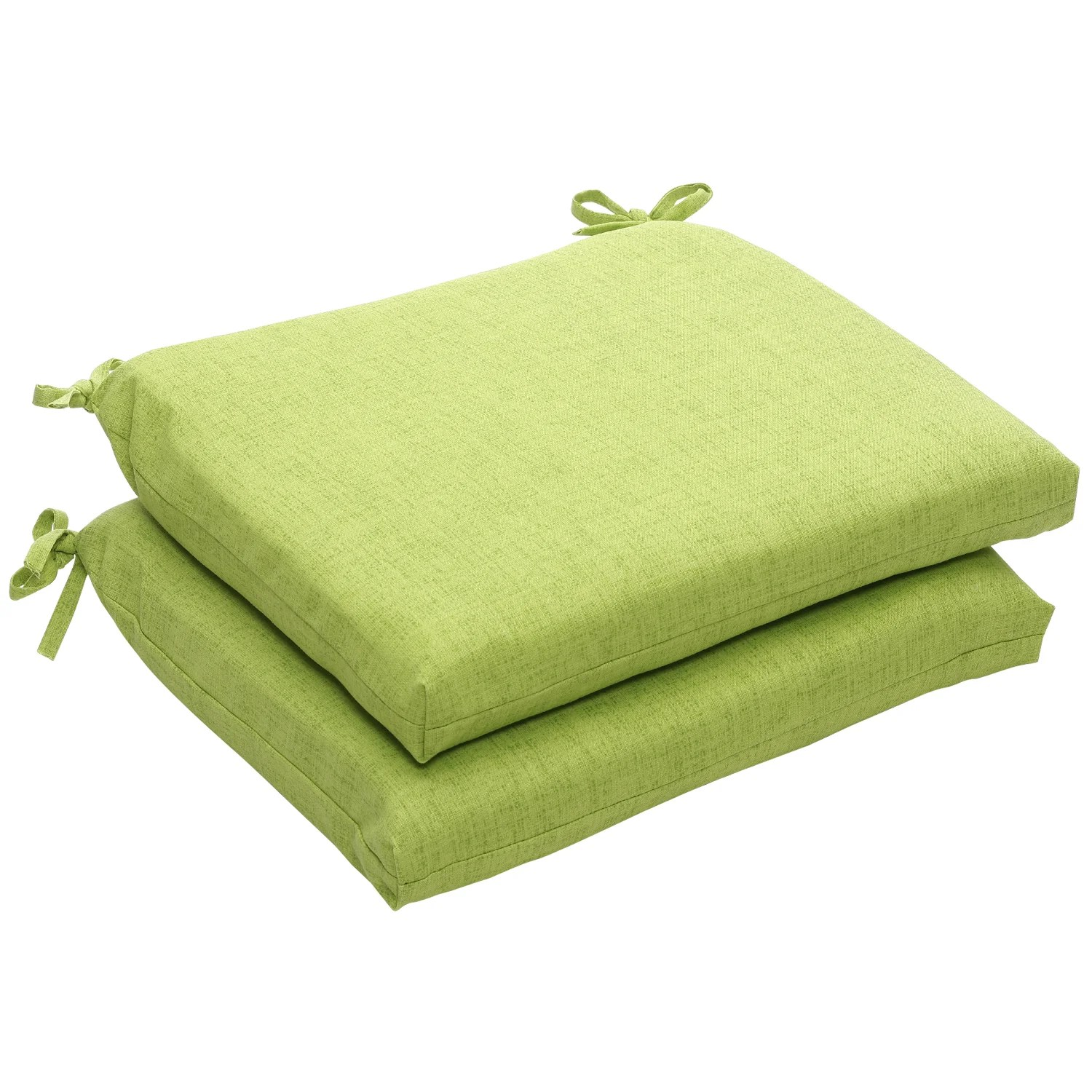 outdoor chair pads webbed lawn green textured solid squared seat cushions set of