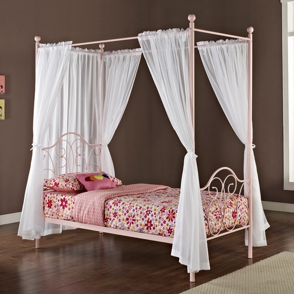 Pink Metal Twin Size Canopy Bed With Curtains Free Shipping