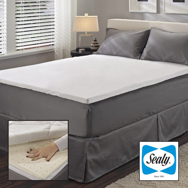Sealy 2inch Queen King Cal Kingsize Latex Mattress Topper with Protective Zippered Cover Set