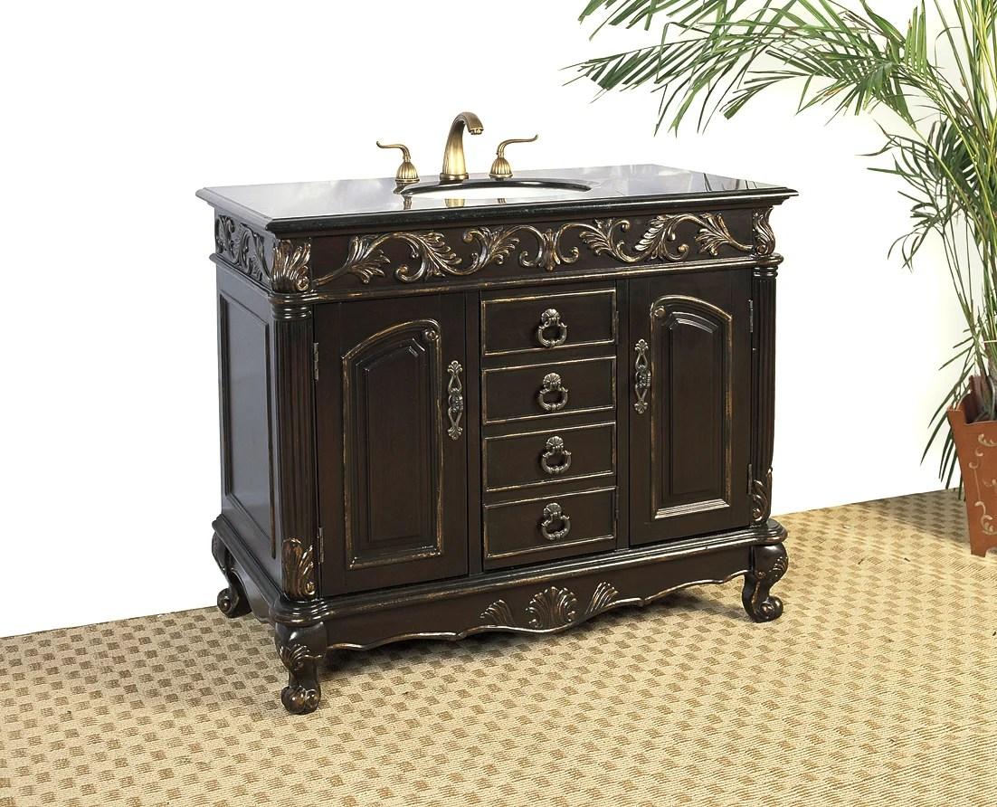 Distressed Espresso Black Granite Bathroom Vanity with