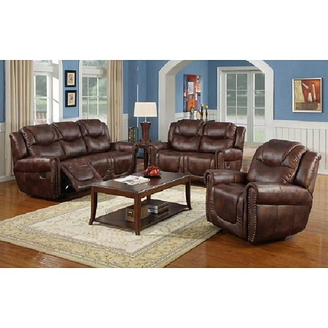 Shop Witiker Brown Reclining Sofa Set  Free Shipping Today  Overstockcom  6535462