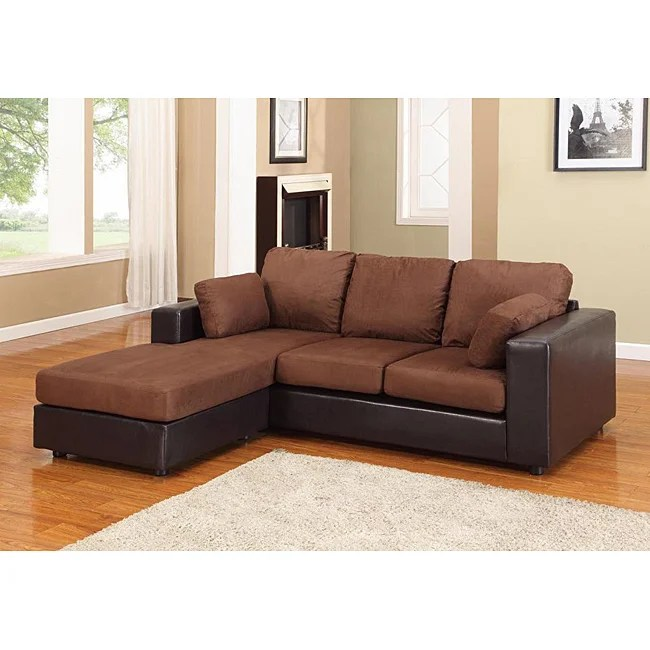 new york brown black microfiber sectional chaise sofa free