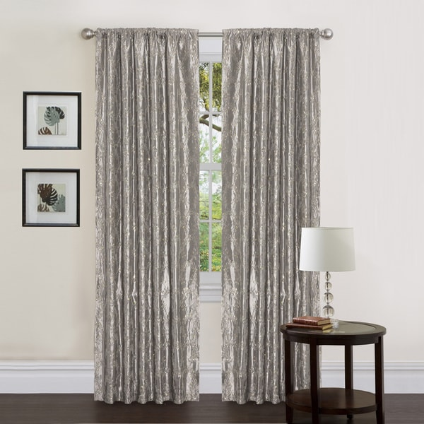 Lush Decor Gold Sequin Silver 84 Inch Angelica Curtain Panel
