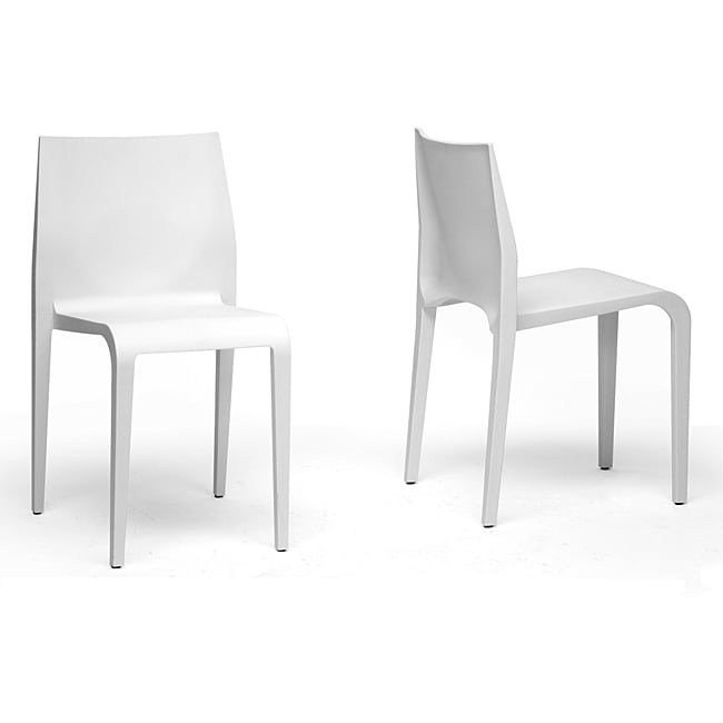 Blanche Modern White Molded Plastic Dining Chairs Set of