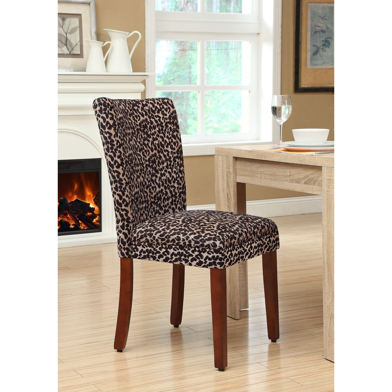 Print Parsons Chair Homepop Leopard Chenille And Wood Parsons Chair Set Of 2