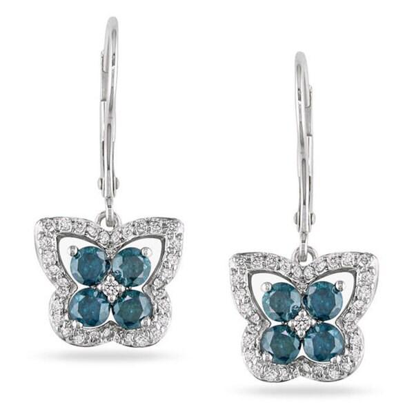Shop Miadora 14k White Gold 1ct Blue Diamond Butterfly