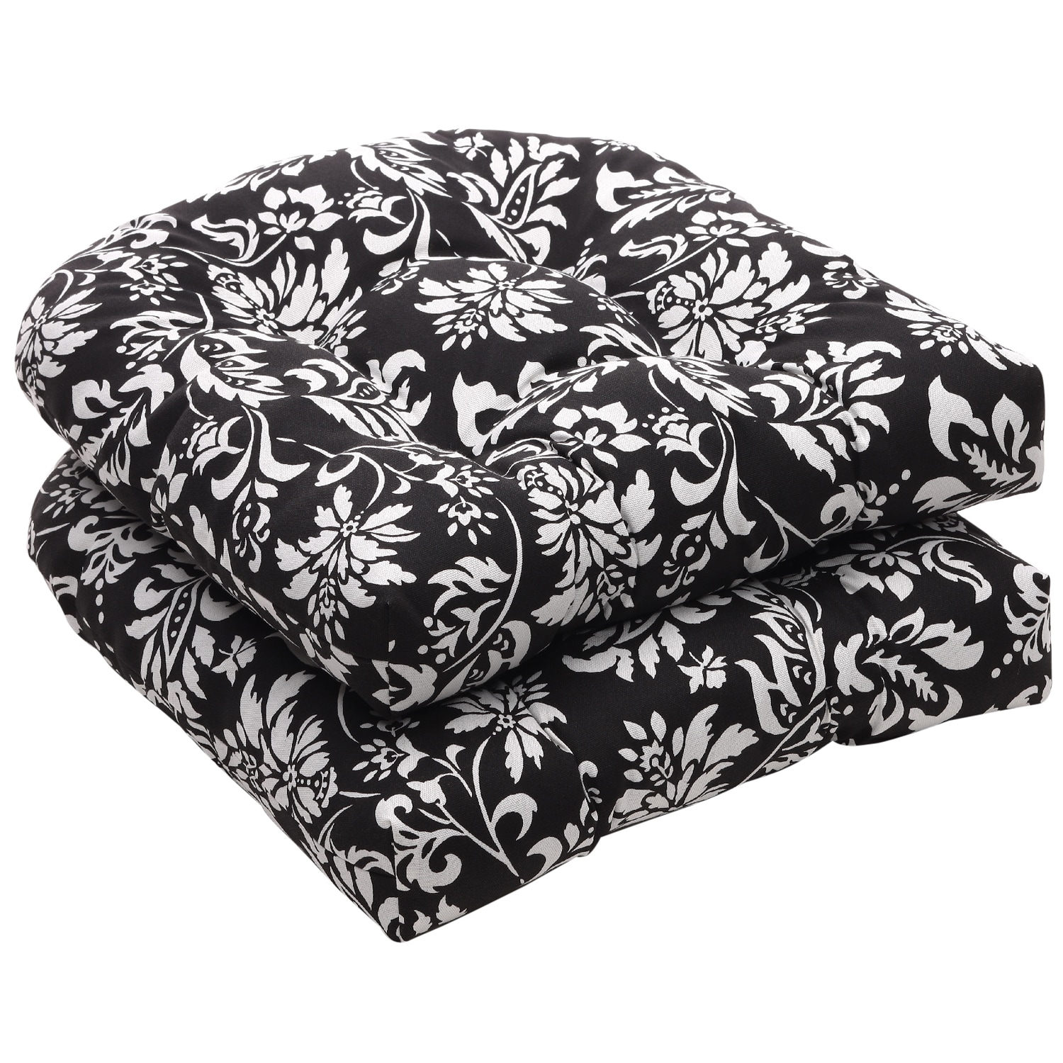 black chair cushions cover rental kitchener pillow perfect outdoor white floral wicker seat