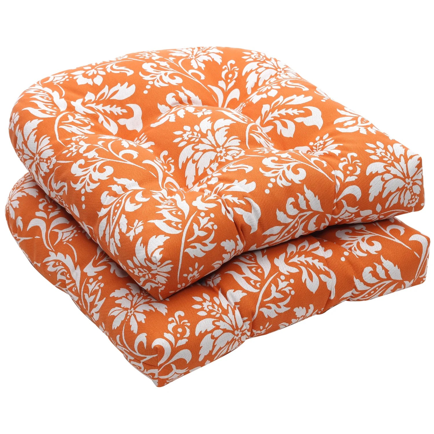 orange wicker chair cushions chairs that fold out into beds pillow perfect outdoor floral white seat