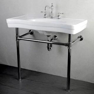 imperial vintage 36-inch wall-mount chrome pedestal bathroom sink