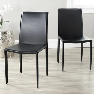 leather dining room chairs fire pit and adirondack buy kitchen online at overstock com safavieh mid century jazzy bonded black set of 2