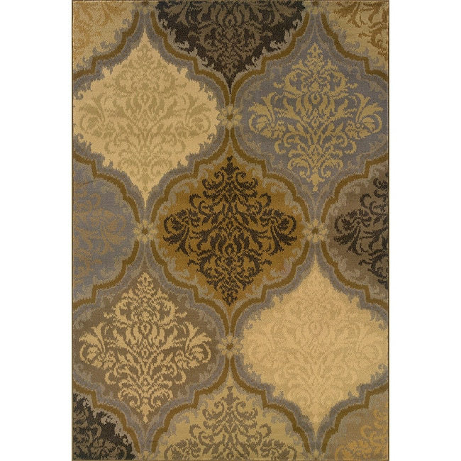 Grey and Gold Transitional Area Rug 5 x 76  Free