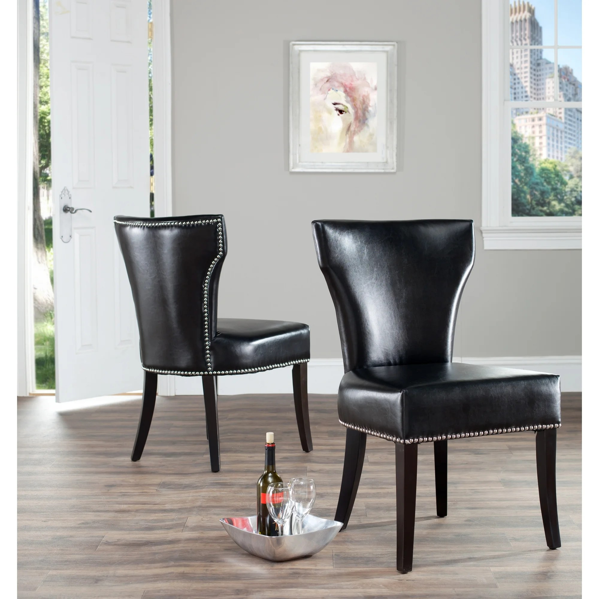 Leather Dining Chairs With Nailheads Safavieh Matty Black Leather Nailhead Dining Chairs Set