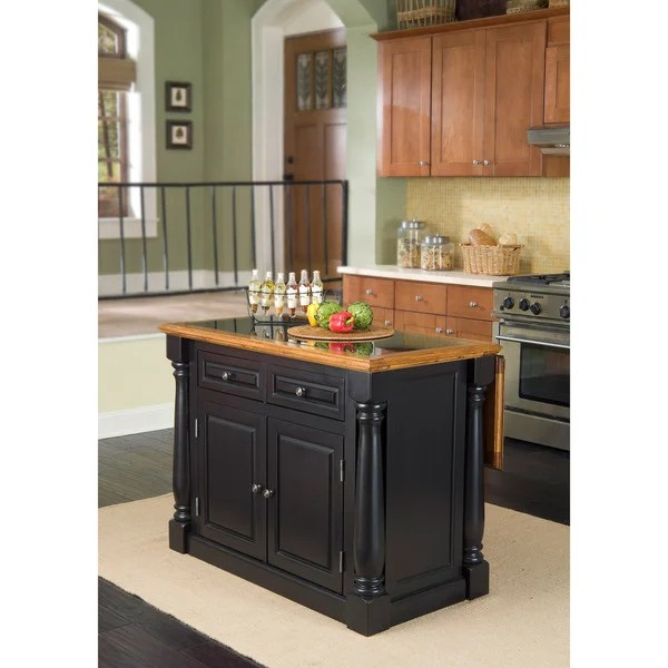 home styles monarch kitchen island copper sink faucet distressed oak and granite top black ...