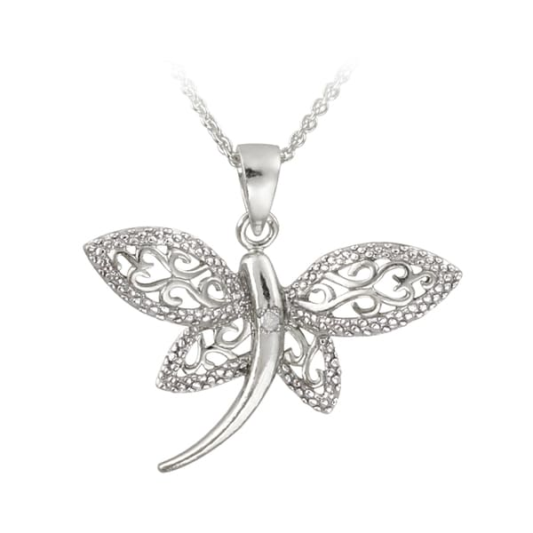 Shop DB Designs Silver Diamond Accent Filigree Dragonfly