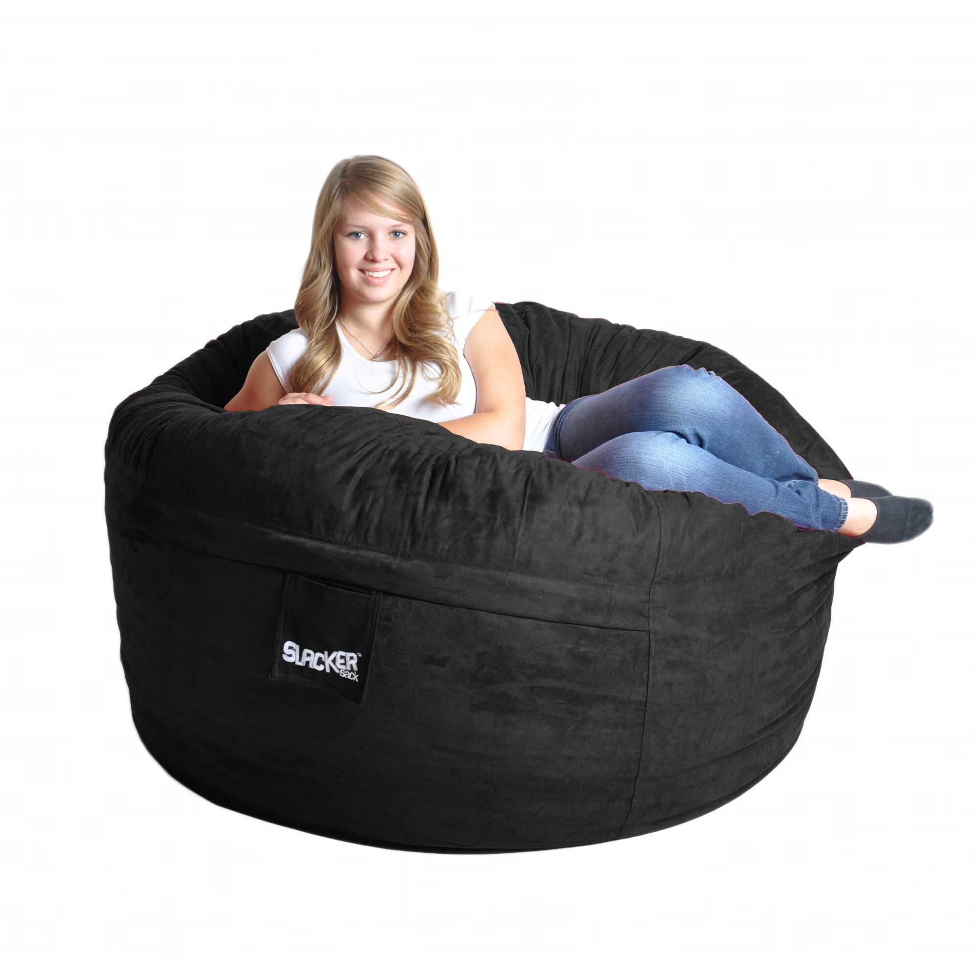 Foam Bean Bag Chair Black Microfiber And Foam Bean Bag Chair 5 39 Round Ebay