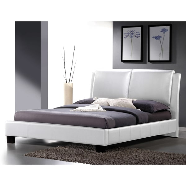 Shop Sabrina White Modern Queensize Bed with Overstuffed Headboard  Free Shipping Today