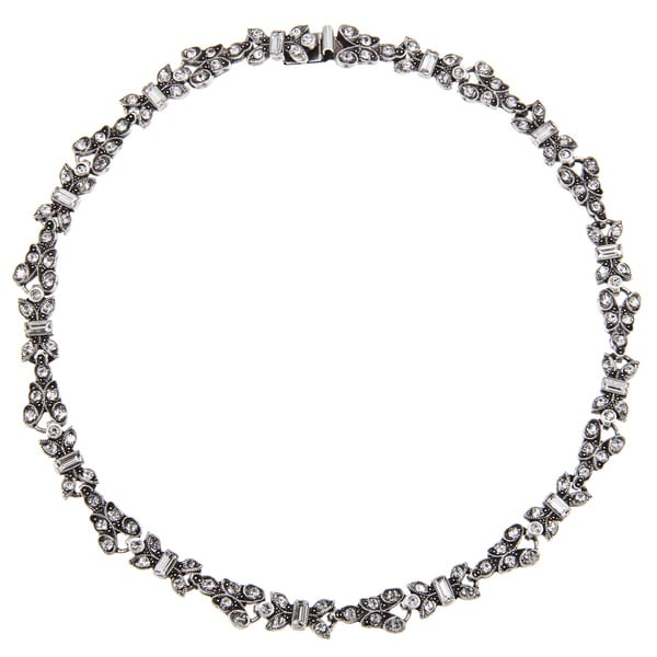 Sweet Romance Silvertone Art Deco Crystal Necklace