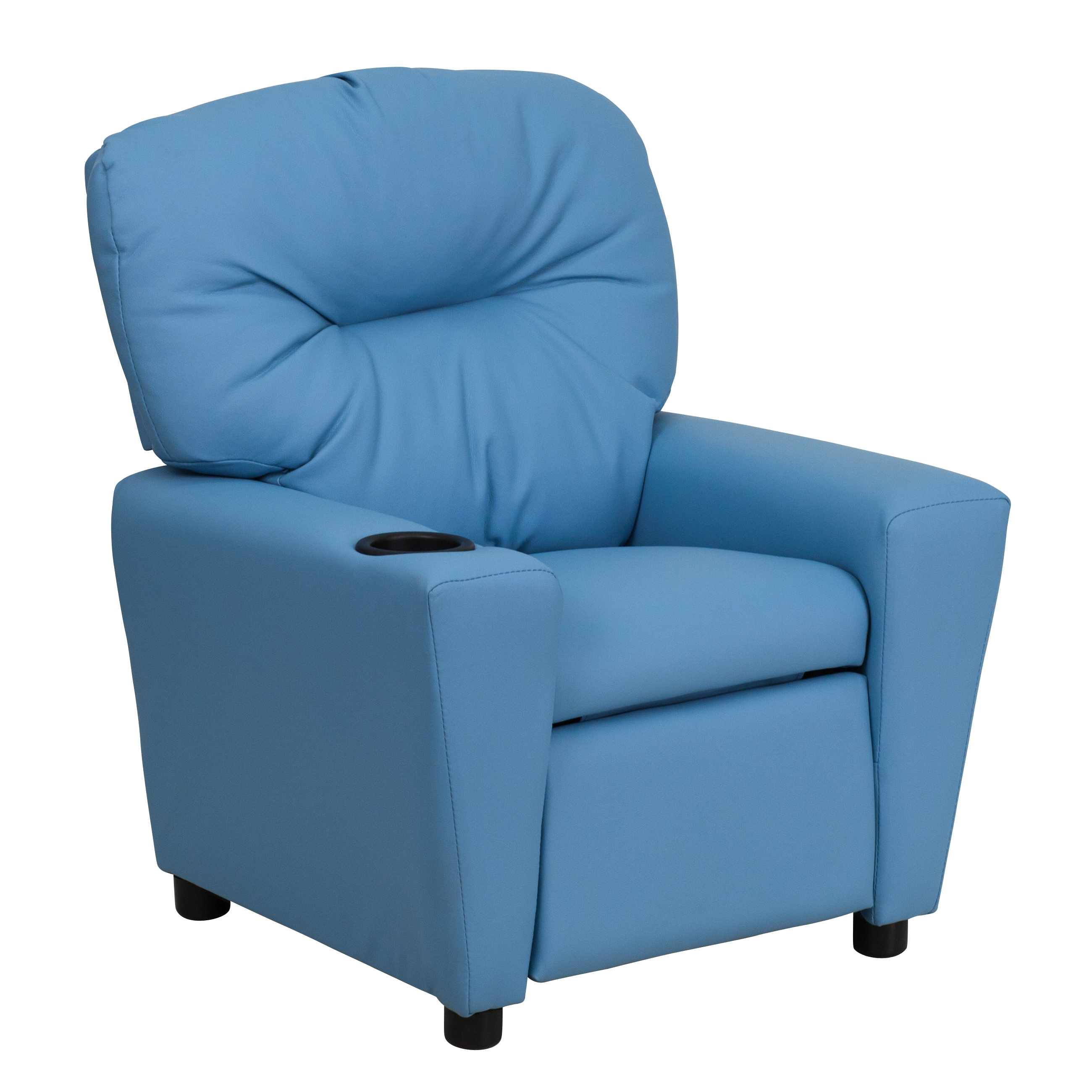 Kids Reclining Chair Light Blue Vinyl Kids Recliner Cup Holder Furniture Chair