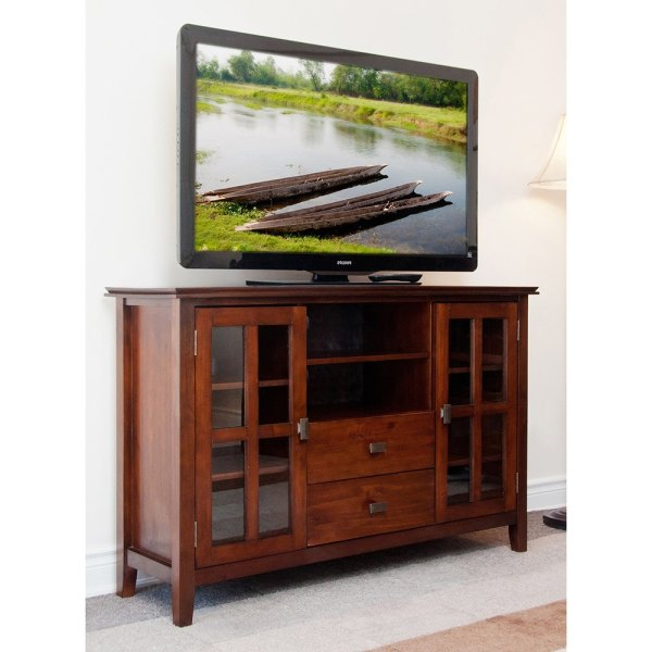 Tv Stand Media Center Storage Furniture Entertainment Console Cabinet Wood Brown