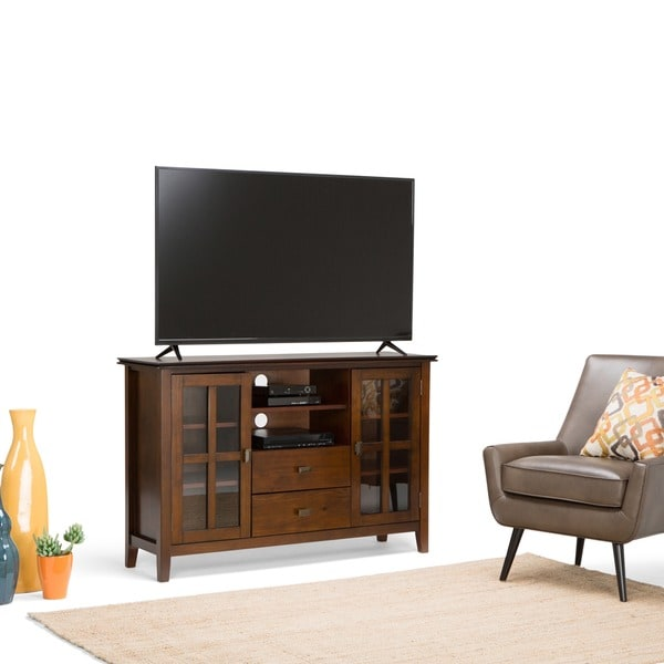 WyndenHall Stratford WoodGlassMetal Tall TV Stand for TVs up to 60 Inches  Free Shipping