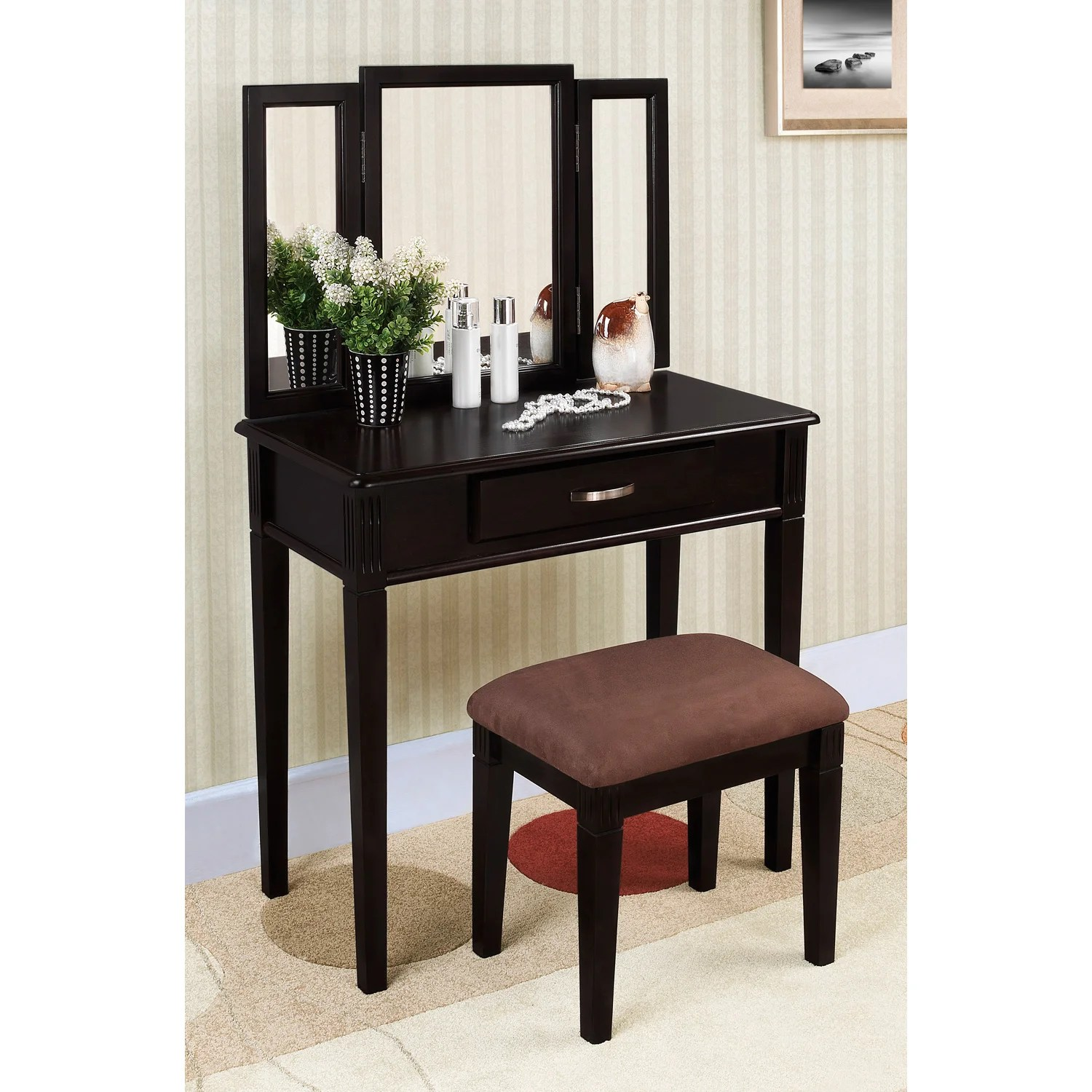 Black Finish Trimirror Vanity Table and Stool  14257750  Overstockcom Shopping  The Best