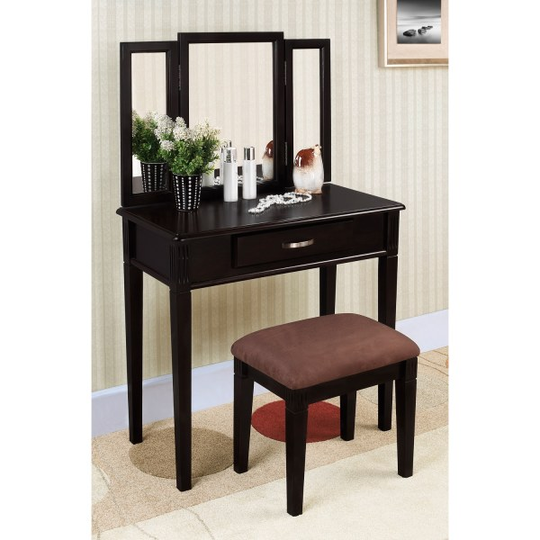 Black Finish Tri-mirror Vanity Table And Stool - Free