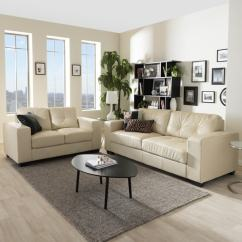 Living Room With Loveseat And Chairs Flush Mount Ceiling Lights Shop Whitney Modern Ivory Faux Leather Sofa Set Free