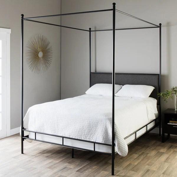 Shop Lauren Grey Upholstered Queen Size Canopy Bed Free