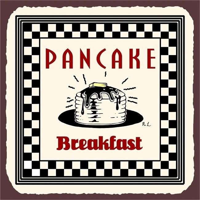Vintage Metal Art Pancake Breakfast Decorative Tin Kitchen Sign