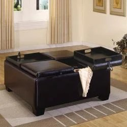amy leather tray top storage ottoman brown