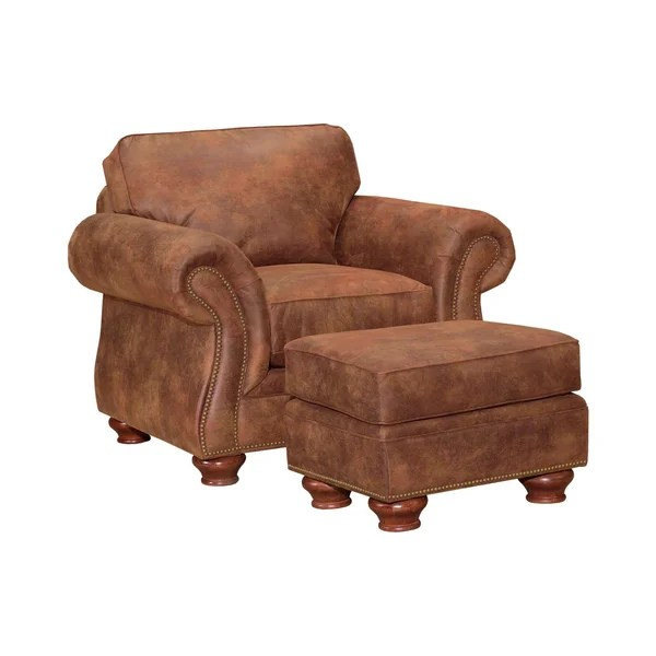leather chair ottoman set modern wingback chairs for sale shop broyhill lauren 2 brown faux free shipping today overstock com 6748956