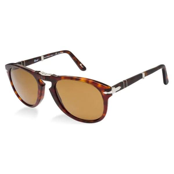 8afe9005e59 Persol Mens Steve Mcqueen 24 57 Havana Foldable Plastic Polarized Sunglasses