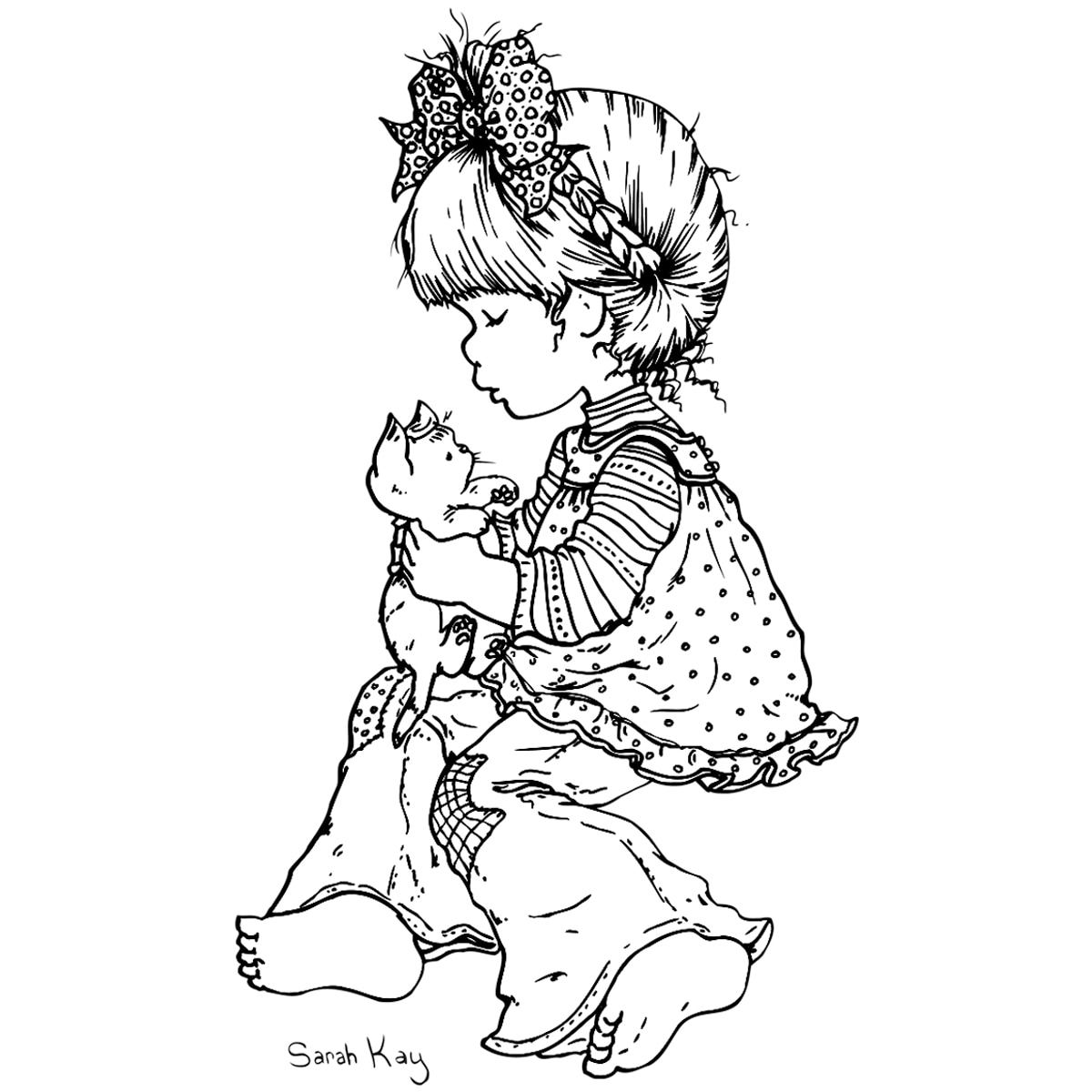 Stampavie Sarah Kay Clear Stamp-Lucy & Kitty 3-1/2