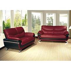 Alicia Two Tone Modern Sofa And Loveseat Set Vintage Brown Leather Bed Red/ Black Two-tone