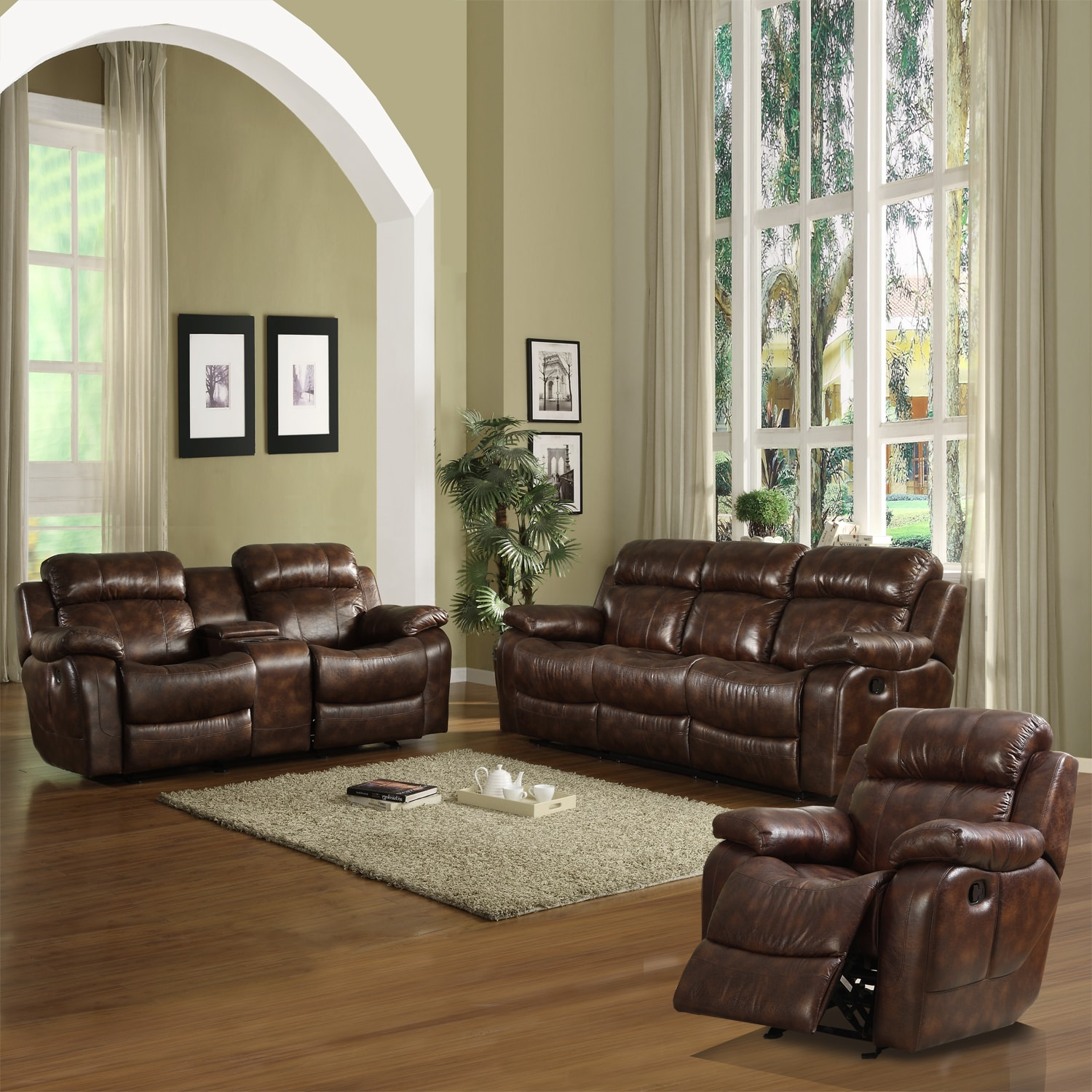 darrin leather sofa reviews multi purpose eland living room set of 3 14325171 overstock
