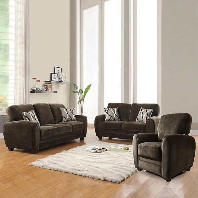 Shop Daventry 3 piece Chocolate Living Room Set  Free
