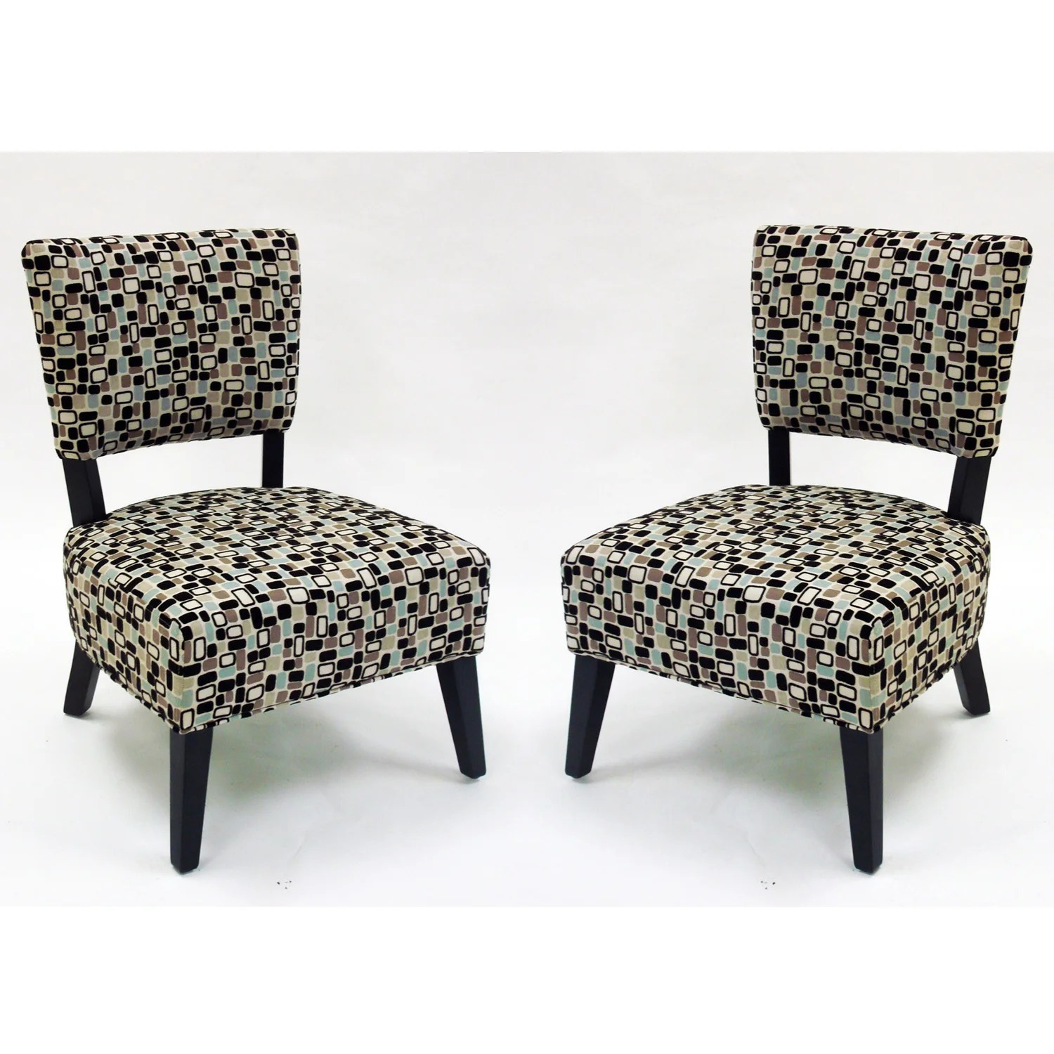Overstock Chairs Geometric Fabric Modern Accent Chairs Set Of 2 Free