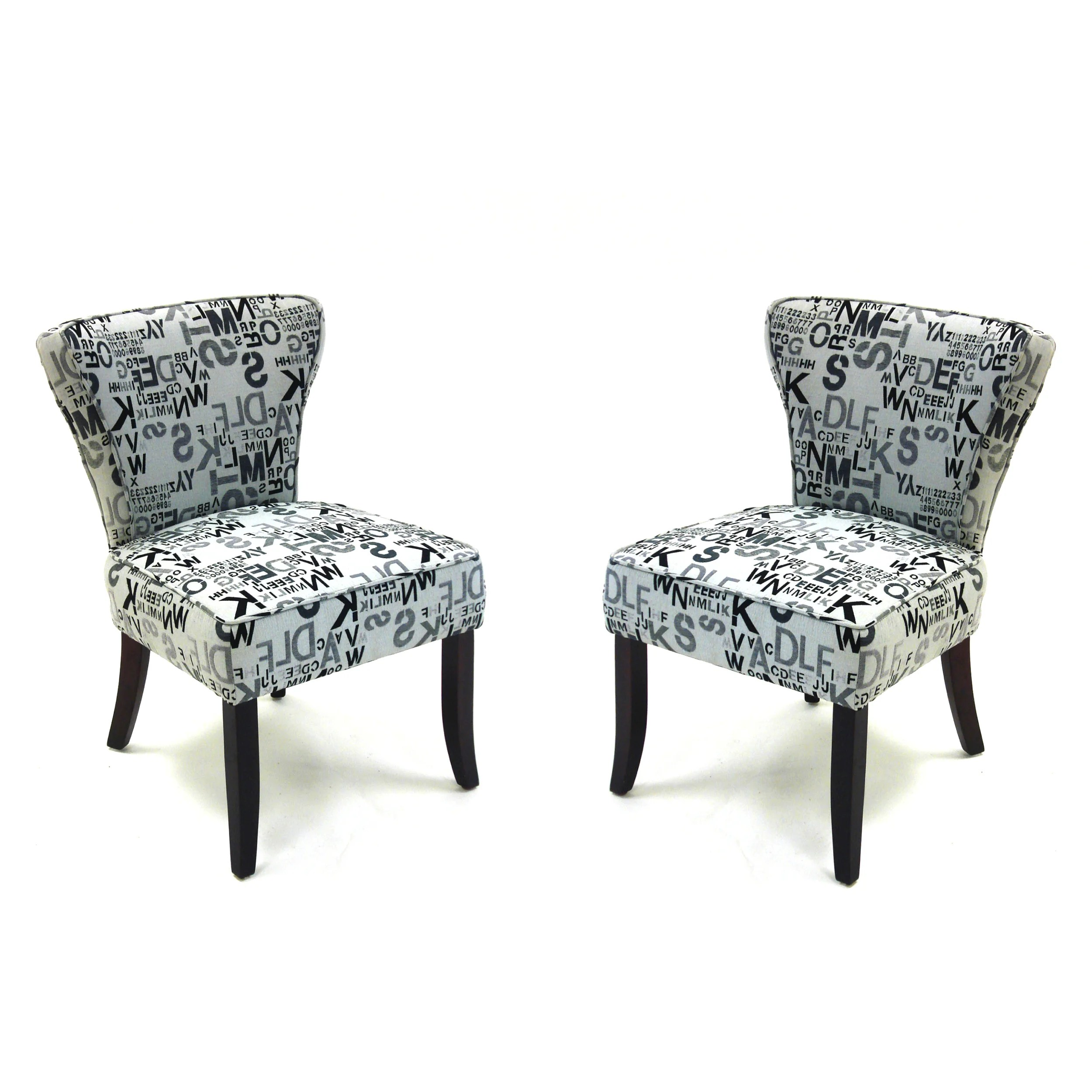 Accent Chairs Modern Modern Letters Accent Chairs In Alpha Letters Fabric Set
