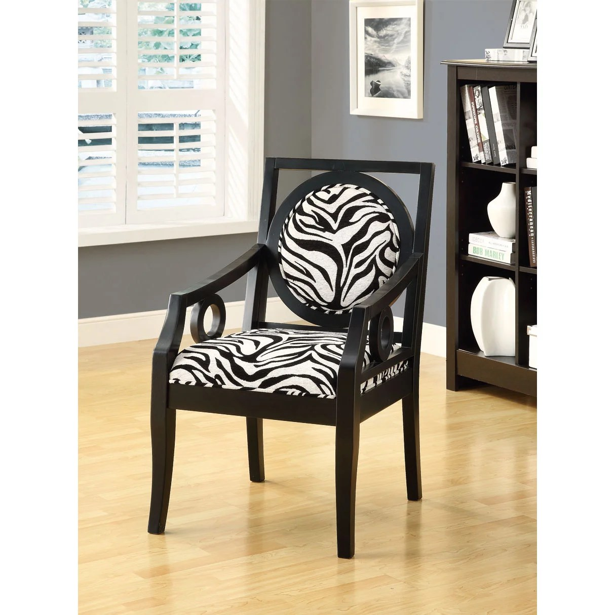 Zebra Accent Chair Shop Zebra Fabric Black Solid Wood Accent Chair Free