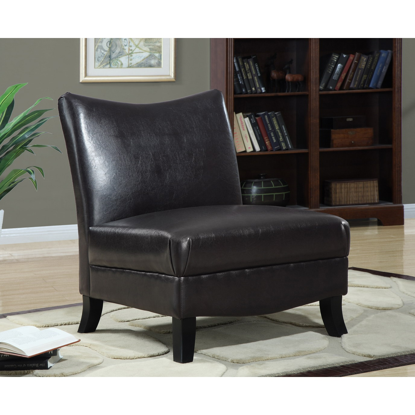 Brown Accent Chairs Dark Brown Leather Look Accent Chair Free Shipping Today