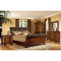 King-size 4-piece Wood/ Leather Sleigh Bedroom Set ...