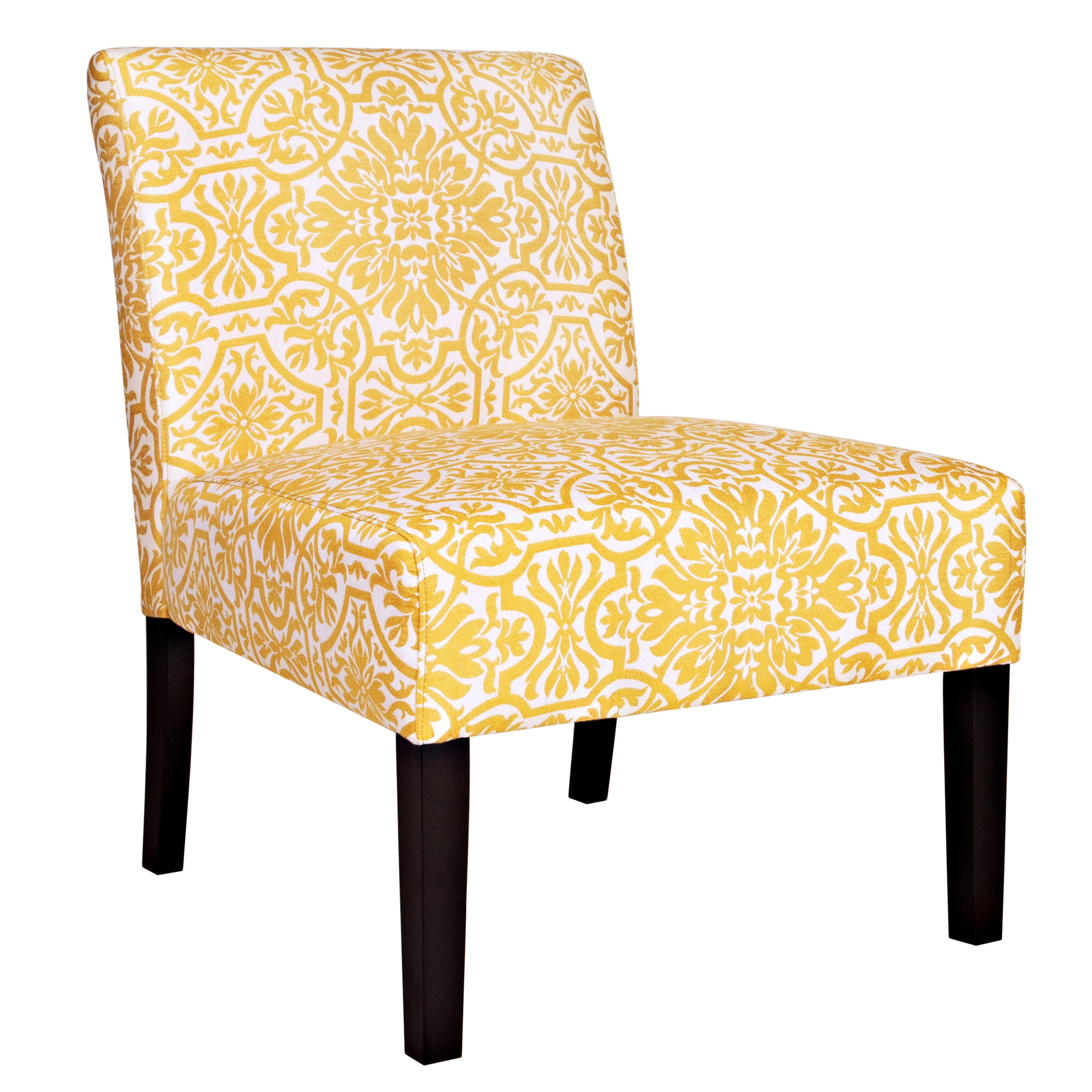 damask accent chair gaming chairs xbox one angelo home bradstreet yellow cream armless