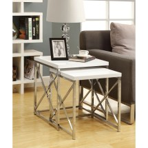 Glossy White Chrome Metal 2-piece Nesting Table Set