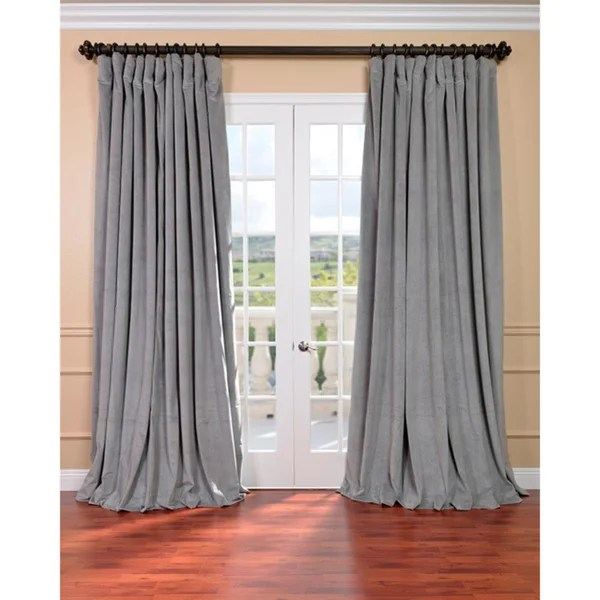 Shop Exclusive Fabrics Silver Grey Velvet Blackout Extra Wide Curtain Panel  On Sale  Free