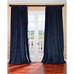 Exclusive Fabrics Midnight Blue Velvet Blackout Extra Wide Curtain