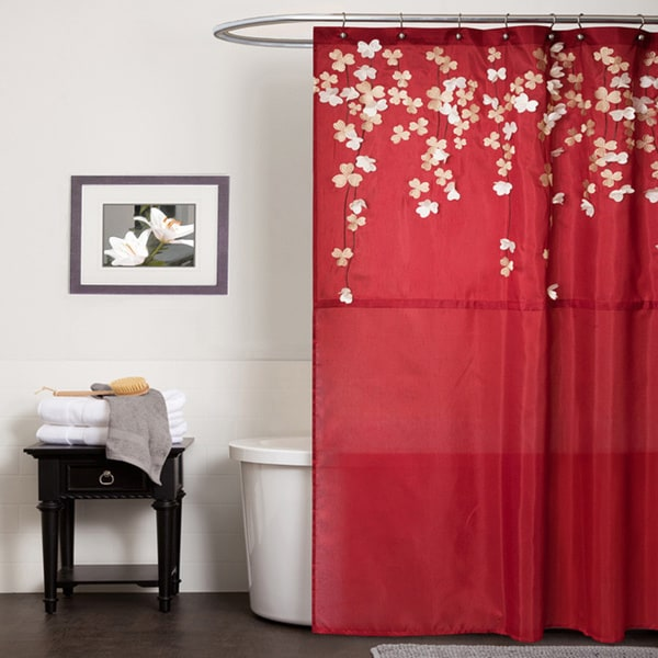 Shop Lush Decor Flower Drop Red Shower Curtain  Free Shipping Today  Overstockcom  6820871