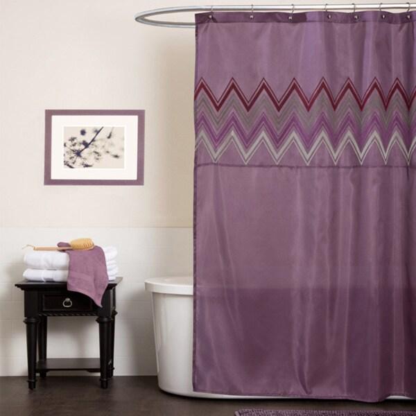 Shop Lush Decor Myra Plum Chevron Shower Curtain  Free Shipping On Orders Over 45  Overstock