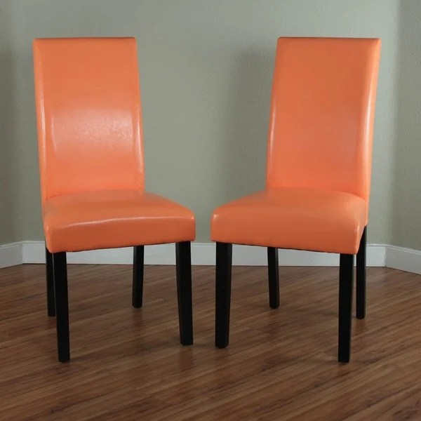 safavieh karna dining chair recliner computer villa faux leather sunrise orange chairs (set of 2) - free shipping today overstock.com ...