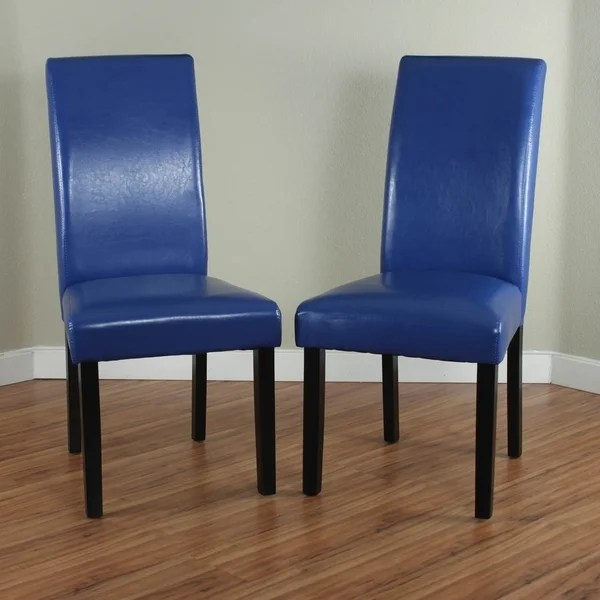 Shop Villa Faux Leather Blue Dining Chairs Set of 2